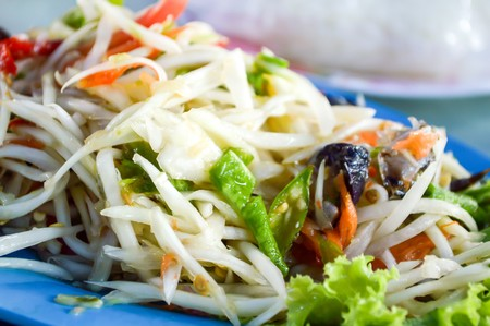 spicy papaya salad (asian spicy food) photo