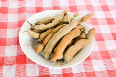 indica: tamarind on tablecloth (Tamarindus indica)
