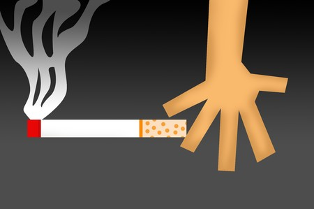 abstain: hand and cigarette