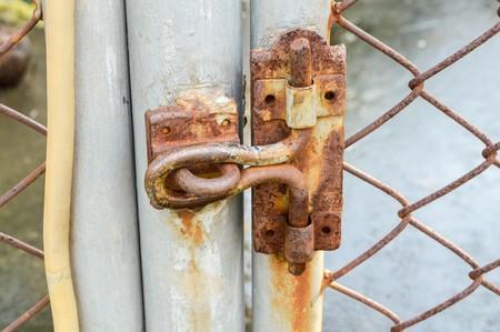 lockup: Old rust latch iron door