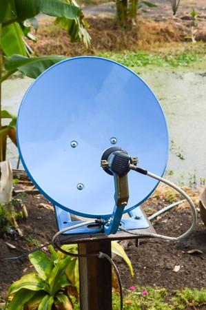 airwaves: blue satellite dish Stock Photo