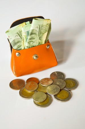 argent: Money in my bag on white background Stock Photo
