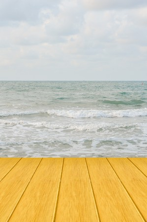 wooden bridge on the sea photo