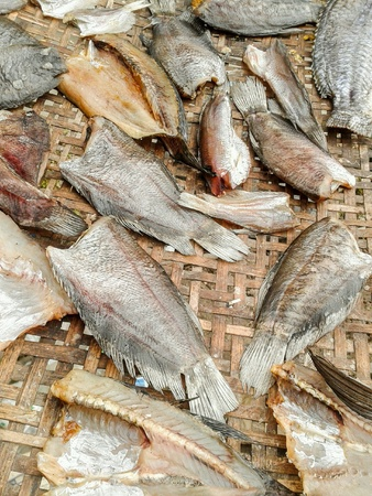 salted: Dry salted fish (thailand food).