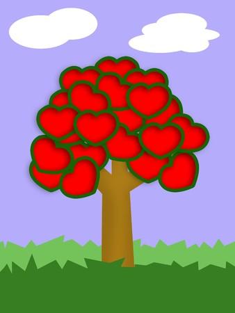 heart tree illustration Stok Fotoğraf