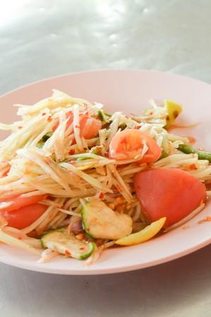 spicy: spicy papaya salad (Asian spicy food) Stock Photo
