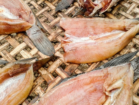 fish: Dry fish raw food Stock Photo