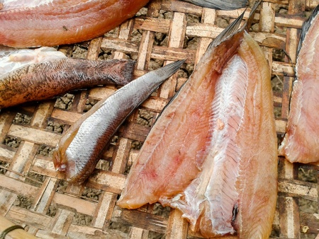 striped snakehead fish: Dry fish raw food Stock Photo