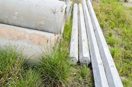 cement tube and cement pole on the ground