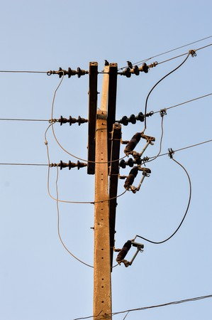 power cables: electricity post in country Thailand Stock Photo