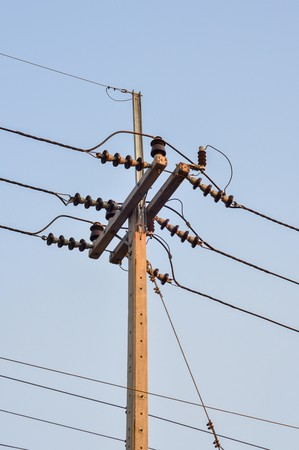 electricity post in country Thailand photo
