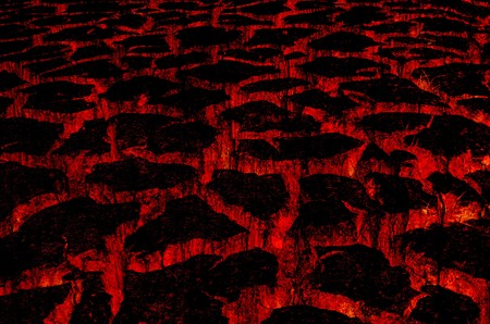 lava: hot lava in cracked ground Stock Photo