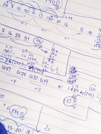 theoretical: textured paper with the calculation of the theoretical mechanics Stock Photo