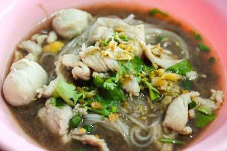 asian noodle: Asian noodle with blood Thailand food