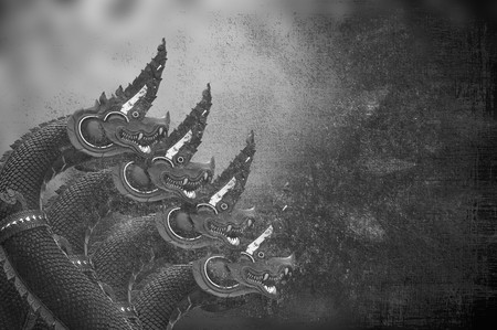 art four King of Nagas statue texture background Stock Photo