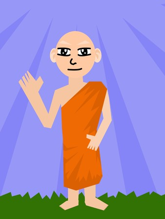 amiable: Buddhist Monk cartoon
