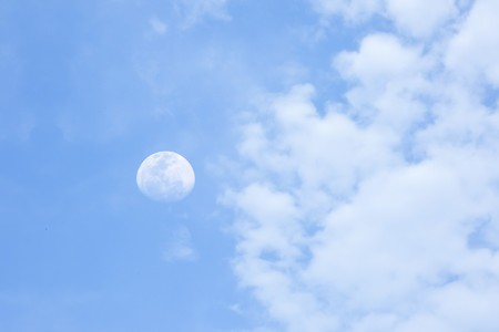 moon cloud in blue sky