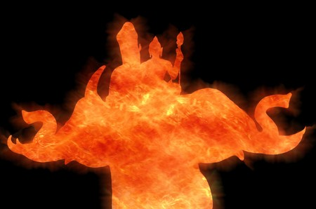 indra rides Erawan fire silhouette