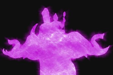 indra rides Erawan purple color silhouette