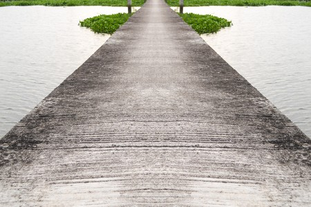 cement pole: cement bridge in country Thailand