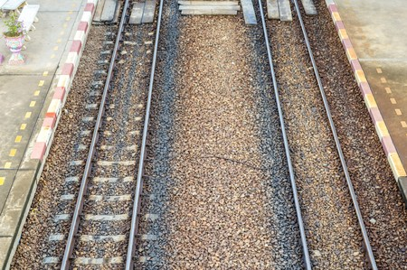 wood railroads: railway in country Thailand Stock Photo