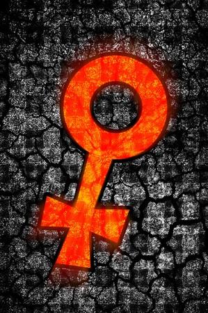 female sign: art grunge female sign