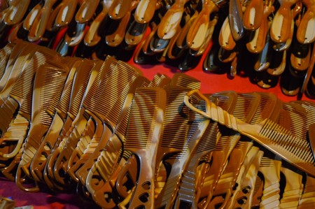 brown comb plastic in night market Stock Photo