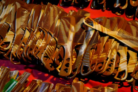 comb: brown comb plastic in night market Stock Photo