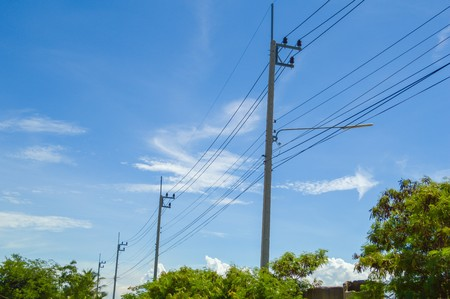 electricity post in country Thailand Stock Photo