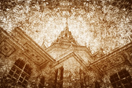 wat: old grunge photo temple illustration background