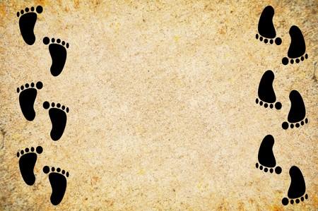 footprint on grunge brown illustration background 版權商用圖片 - 47015942