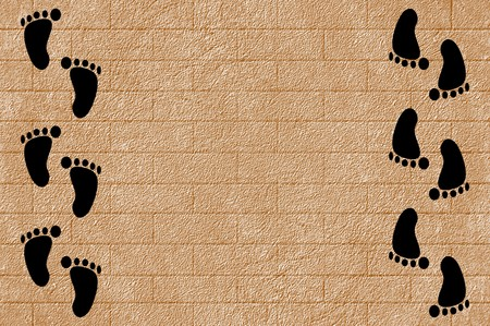 black footprint on grunge cement floor illustration background 版權商用圖片