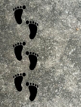 footprint on grunge illustration background 版權商用圖片