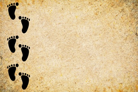 footprint on grunge brown illustration background 版權商用圖片