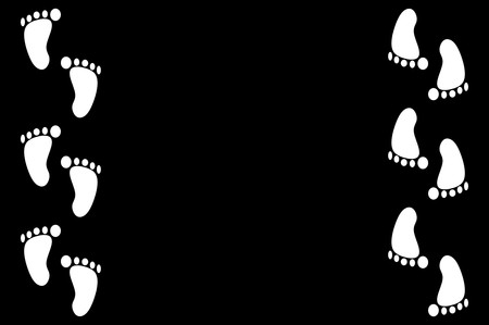 white footprint on black illustration background 版權商用圖片