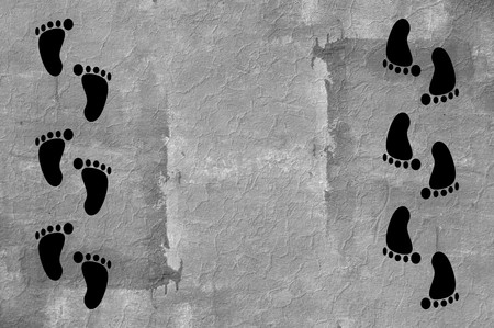 footprint on grunge cement wall illustration background