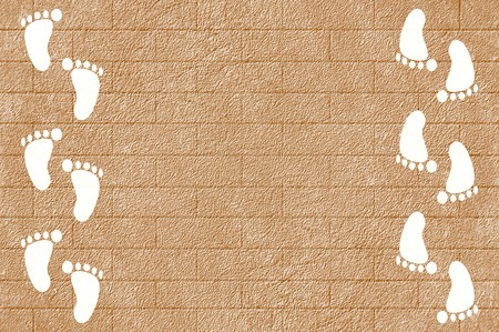 white footprint on grunge cement floor illustration background 版權商用圖片