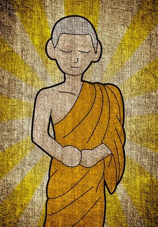 buddhist monk: grunge buddhist monk cartoon illustration