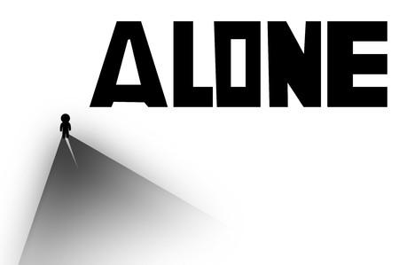 alone man cartoon illustration Stock fotó