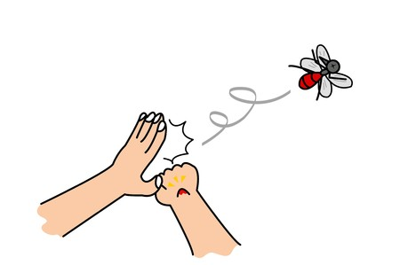 hand click mosquito cartoon illustration Stock fotó - 50562782