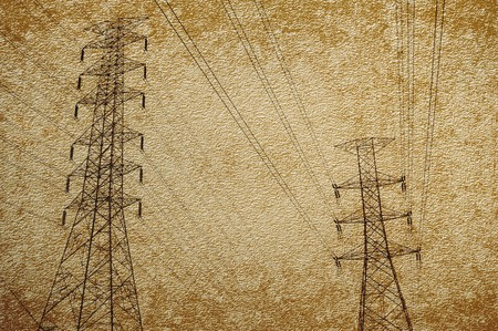 electricity post: electricity post on grunge brown illustration background