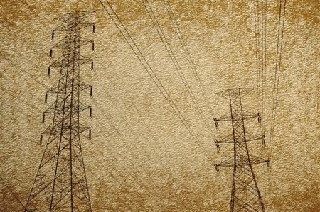 elektriciteitspost op achtergrond van de grunge de bruine illustratie Stockfoto