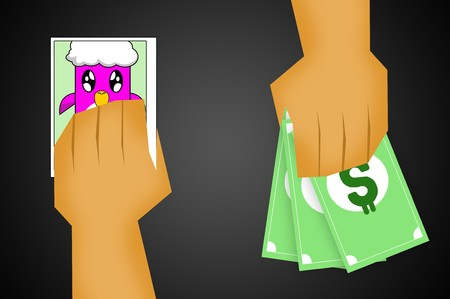 sell: sell photo for money illustration Stock Photo