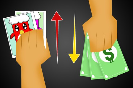 to sell: sell photo for money illustration Stock Photo