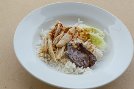meat diet: rice steamed with chicken soup at Thailand