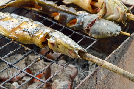 catfish: Catfish are grilled with charcoal