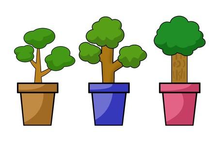 plants pot cartoon illustration Stock Photo