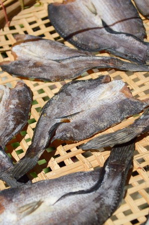 striped snakehead fish: dry striped snakehead fish raw food Stock Photo