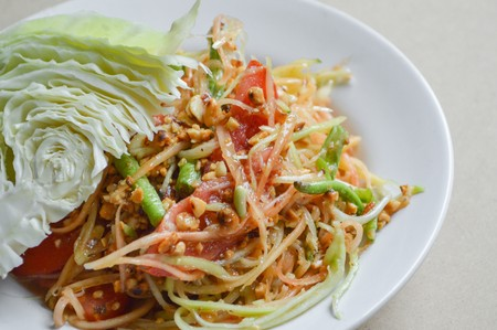 Spicy Papaya Salad Thailand healthy food Stock Photo