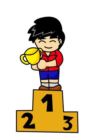 winner man: winner man cartoon illustration